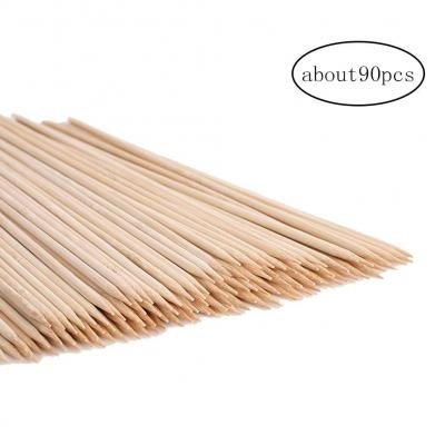 90pcs Pinchos de bambú Natural Sticks para Barbacoa Brochetas de malvavisco Asar Sticks Extra Gruesos Largos Palos de bambú para Trabajo Pesado de asado de malvavisco